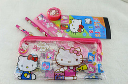 Wholesale Kid Ruler Stationery - Wholesale 20sets - lots Hello Kitty pattern stationery set school supplies pencil case ruler sticker  eraser kid gift