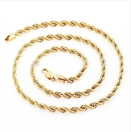 "Wholesale Wholesale Solid Yellow Gold Jewelry - Wholesale-Wholesale Price 24"" 51g 18K Solid Yellow Gold Filled Plated Mens Cuban Link Rope Necklace Chain Long Necklace Men Jewelry"
