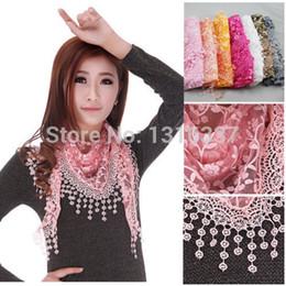 Wholesale Veil Wrap - Wholesale-Lace Sheer Floral Print Triangle Veil Church Mantilla Scarf Shawl Wrap Tassel