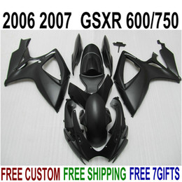 Wholesale Gsx R Matte Black K6 - 7 free gifts fairing kit for SUZUKI GSXR600 GSXR750 06 07 K6 all matte black fairings set GSX-R 600 750 2006 2007 V47F