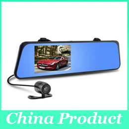 "Wholesale Car Glass Mirror - 4.3"" LCD Bule Screen HD1080P H170 Dual Lens Camera Rearview Mirror Viedo Recorder Car DVR Blackbox G-Senser dvr glasses 010227"