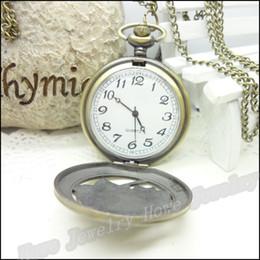 Wholesale Antique 14k Gold Watch Chain - Vintage Flowers Patterns Pocket Watches Steampunk Antique Bronze Watch Necklace Chain Clock Friend Gifts 1 pcs 47*68*15mm
