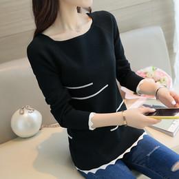 Wholesale Blusas Moda - Wholesale- 2017 Nova Primavera camisola das mulheres Moda Listrado pullovers Blusas feminina de slash collar blusas de manga longa mulheres