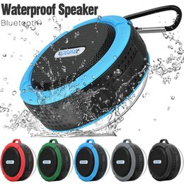 Wholesale Mini Speakers Long - Waterproof Bluetooth Speaker Shower Speaker C6 with Strong Driver Long Battery Life and Mic and Removable Suction Cup in Retail Package