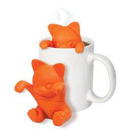 Wholesale tea makers wholesale - Cartoon Cat Tea Infuser Silicone Loose Animal Tea Leaf Strainer Herbal Spice Filter Diffuser Tea Makers Tool Kit Teaspoon 100pcs OOA3428