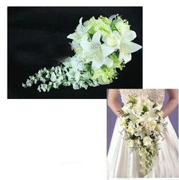 Wholesale Silk Lily Bouquets - Rose lily bride wedding Flower bouquet hand Flower the artificial flower adornment silk flower Free Shipping
