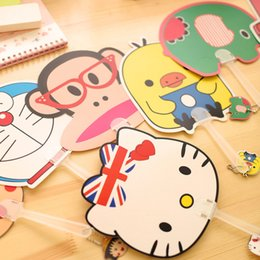 Wholesale Summer Cute Fan - 2016 Hot Sale Summer Cartoon Hand Fans For Students Cute Cool Fan Long Handle Animals Fans