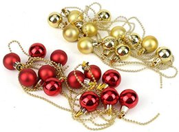 Wholesale Red Plastic Ornaments Balls - 2pcs 1.9Meters 3cm Gold Red Round Ball Beads chain Suspension ornament Strap Garland Christmas Tree Holiday Venue Decoration
