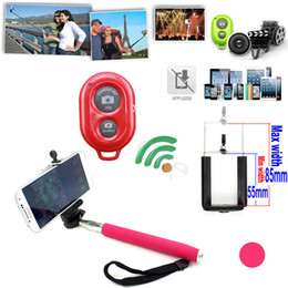 Wholesale Timer Camera Holder - Factory Price ! Bluetooth Wireless Remote Shutter Camera Control Self Timer+Monopod+Phone Holder for iOS & Android 3 in 1 Full Set