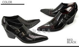 Zapatos de vestir de punta borgoña para hombre online-Zapatos para hombre hechos a mano de negocios de cuero borgoña hebilla cuero genuino del dedo del pie puntiagudo zapatos de vestir de tacón alto Oficina de hombre Oxfords nuevo hombre negro