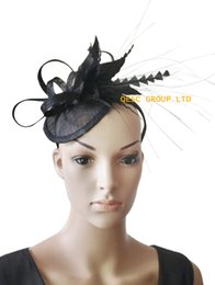Wholesale Sinamay Feathers - Black Sinamay Fascinator Feather fascinator for Races,Wedding,kentucky derby.