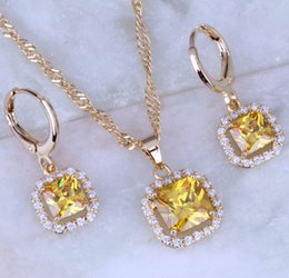 Wholesale Beautiful Womens - Beautiful Yellow Citrine Cubic Zirconia Square Jewelry Sets 18K Yellow Plated Necklace Pendant Hoop Earrings for Womens Free Gift Bag X0165