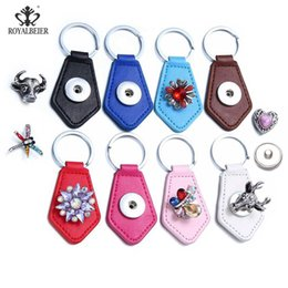 Wholesale Diy Key Chain Ring - 2017 Fashion 18mm Snap Leather Keychain Geometric shape Keychains Keyrings DIY Jewelry Snaps Unisex Key chain Noosa Key rings
