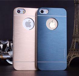 Wholesale Hole Metal Cover - Motomo With hole Brushed Aluminium Metal case Slate Hard Back Case Cover For iPhone4S iphone5S iphone6 6S i6plus