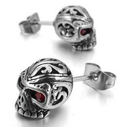 Wholesale Earring Gothic - Mens Cubic Zirconia Stainless Steel Gothic Skull Stud Earrings Red Silver Drop Shipping