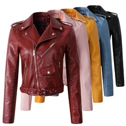 Wholesale Ladies Leather Jackets Sale - Wholesale- 2018 New Fashion Women Autunm Winter Wine Red Faux Leather Jackets Lady Bomber Motorcycle Cool Outerwear Coat with Belt Hot Sale