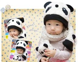 Wholesale Scarf Two Piece Set Pink - hot children Panda hat 100% wool hat+scarf two piece set baby caps children cartoon cap Warm winter