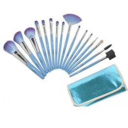 Wholesale Professional Makeup Kit 16 - 3 Colors Blue, Pink, Purple 16 Pcs Professional Makeup Brushes Travel Kit with Button Leather Pouch Case