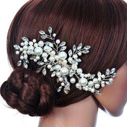 Wholesale Claw Clip Hair Pieces - New Bella Flower Rhinestone Bridal Hair Comb Clip Pin Pieces Wedding Pearl Crystal Accessories Jewelry Bride Bridesmaid