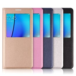 Wholesale Open View Plastic Cover - S7 Edge PU Leather Case Open Window View Flip Cover Back Case For Samsung Galaxy S7 Edge Plus S6 S6edge Note5