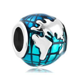 Wholesale Earth Charms - Enameled Blue Earth Shaped Lucky European Charm in Wholesale Large Hole Metal Slide Bead Fit Pandora Bracelet