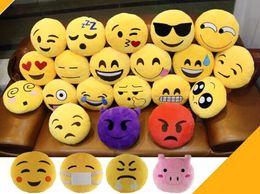 giocattoli morbidi di emoticon Sconti Pretty Baby 35 * 35cm Emoticon cuscino delicatamente Emoji smiley giallo emoticon rotonda cuscino farcito giocattolo bambola di Natale gioielli presenti