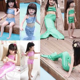 Wholesale Girls Bikinis Sale - Retail New Hot Sale Kids Girls Mermaid Tail Swimsuit Fashion Girl Costume Bikini 3pcs Sets Outfits Fancy Dress Of 4 Colors 90-140CM