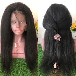 Wholesale Best Human Hair Yaki Wigs - Italian Yaki wig African American Full Lace Human Hair Wigs Best Glueless Brazilian Kinky Straight Lace Front Wigs