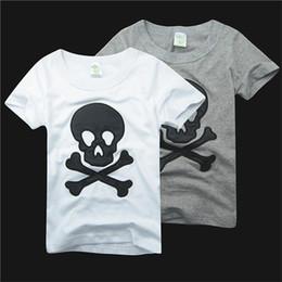 Wholesale England Tshirt - 5pcs Pure Cotton Summer Children Cartoon Tshirt Embroider Beard And Skull Short Sleeve Kid's Boy Girl T Shirt 2-6Year Child Clothing D015