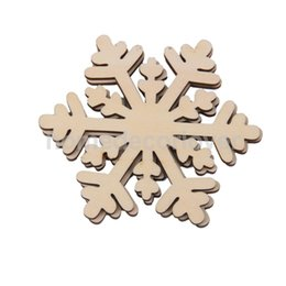 Wholesale Wood Craft Shapes - Wholesale- 10PCS Wooden Snowflake Shapes Embellishments Christmas Wood Craft Supplies