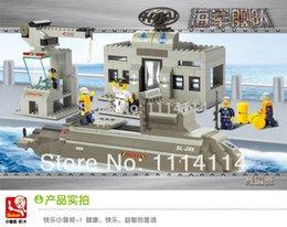 Wholesale Small Luban - free shipping Genuine Small Luban building blocks assembled military model navy submarine series mega blocks