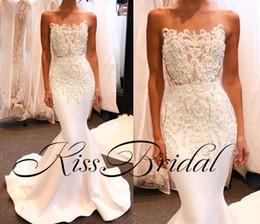 2019 vestido de noiva de cetim Laço de marfim Beading 2018 Vestidos De Noiva Sereia Sem Alças De Cetim Formais Vestidos De Noiva New Wedding Reception Dress vestido de noiva de cetim barato