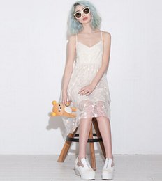 Wholesale Strap Duo - Delicate floral embroidery double net yarn splicing hollow halter dress adjustable straps haoduoyi hao duo yi