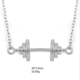 Wholesale Rhodium Plated Connector - top quality zinc alloy material rhodium plated connector fitness sport pendant dumbbell charm necklace for diy