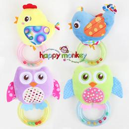 Wholesale Cartoon Baby Chickens - 0 -3 Y Baby Rattle Hand Bell Toy 5 Style Owl Bird Chicken Animals Plush Happy Monkey Gift Wj290