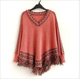 Wholesale Long Knit Shawls - Women Batwing Sleeve Tassels Hem Style Cloak Poncho Cape Tops Knitting Sweater Coat Shawl 4colors free shipping
