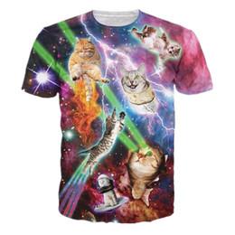 Wholesale Galaxy Tshirts - Wholesale-Harajuku Style Grumpy Cat T Shirt Galaxy Space Bacon Print 3D Tshirts Men Women Funny Short Sleeve Tshirts Flash Cat Tops