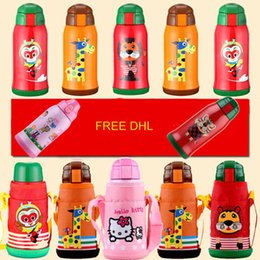 Wholesale Thermal Cup Kids - STOCK 550ML Cute Kids Thermal Bottle Vacuum Flask With Silicone Straw Stainless Steel Children Thermo Mug Thermos Cup Free DHL