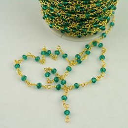 Wholesale Gold Wire Findings - Finding - 5Meter Wire Wrapped Beaded Chains Gold plated Rosary chain Green color faceted Crystal beads size 4mm jewelry making
