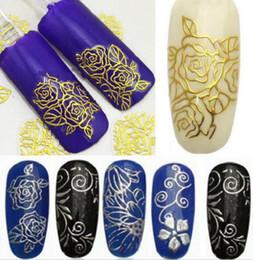 Wholesale Diy Nail Art Flowers - 1 x Beauty Sheet 3D Metallic Flower Decals Nail Art Stickers Manicure Tips DIY Home