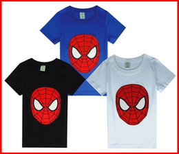 Wholesale Cartoon Shirts For Girls - 5PCS 2016 New Summer Girls Boys spiderman t-shirts cool summer short sleeved cartoon blue black t-shirts tops tees 3colors for choose 2-7T