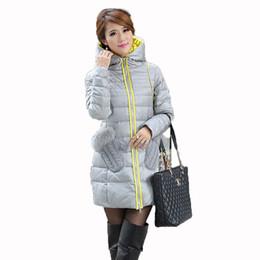Wholesale Ladies Down Coat Medium - Wholesale-2015 New Hot Medium-long Woman Down Coat Gary Fur Collar Gloves Pocket Ladies Down Jacket Warm Overcoat Cotton Coat 001