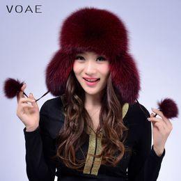 Wholesale Sheepskin Scarves - Wholesale-VOAE Women's Fashion Casual Sheepskin Leather Spliced Genuine Real Natural Blue Fox Fur Hat