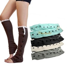 Wholesale Wholesale Black Shank Button - Wholesale-Chic Women Girls Lace Button Down Winter Leg Warmers Above Knee Boot Covers Shank Socks