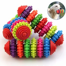 Wholesale Dental Chews - Free shipping Colorful Rubber Pet Dog Puppy Dental Teething Healthy Teeth Gums Chew Toys Tool-JIA602