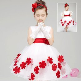 Wholesale Purple Vest Costume - Lovely Flower Design Ball Gowns Tulle Dress Bowknot Round Neck Vest Baby Girls Performance Show Birthday Costume wyc011
