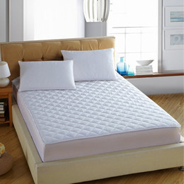 Wholesale Hotel Bedding Sale - Wholesale-New Arrival hot sale solid color hotel quality bed mattress protective cover with fillings pad mattress topper #10