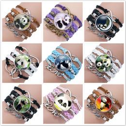 leather bracelets crystal stones NZ - Infinity Charm panda bamboo Bracelets fashion Leather Bracelets Multilayer Heart Time Stone Panda Bracelet Jewelry