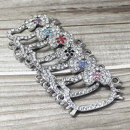 Wholesale Shaped Rhinestone Connector - Bulk 20 Pcs Silver 6 Colors Mixed Curved Side Ways Crystal Rhinestone Bow Lovely Cat Head Shaped Bracelet Connectors Charms Bead Findings