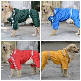Wholesale Yellow Dog Coat - High quality Large Dog Raincoat Clothes Pet Dog Rain Coat Products Four Legs Big Dog Waterproof Poncho Yellow Red Green Blue hight quality